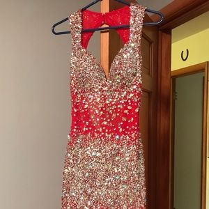 Envious Couture Gown Red Sz 4, halter-style.